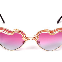 ReaDY To SHiP ~ Pink Ombre ~ HEARTS ~ Spunglasses ~ Wearable Art ~ One of a Kind Hand Woven Wire Wrapped ~ Sunglasses-Eyewear Free Shipping