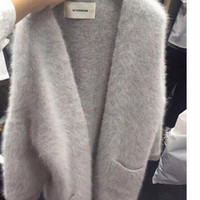 Korean Women Long Knitted Cardigan Casual Loose Mink Cashmere Cardigans Coat Pure Color Knitwear Comfortable Soft Fuzzy Sweaters
