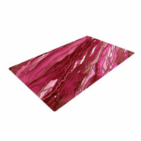"""Ebi Emporium """"Agate Magic - Hot Pink Red"""" Magenta Abstract Woven Area Rug"""