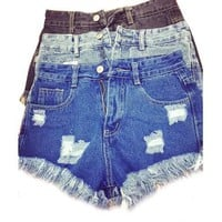High Waist Shorts DISTRESSED, Super Cute #shorts For Summer! All Sizes