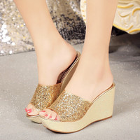 Silver Sequins Heels Peep Toe Bling Shoes Women Summer Wedge Casual Slippers Studded Sandals Golden Glitter Platform Shoes