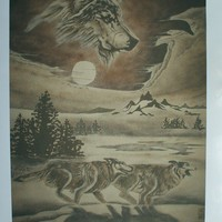 Wolf Painting, Sand Painting Print
