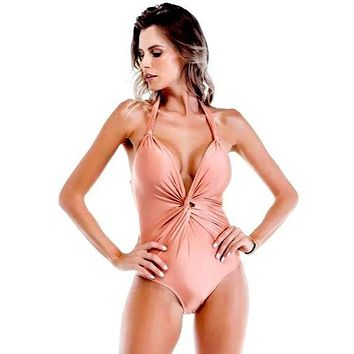 May Golden Twist Front One Piece Swimsuit