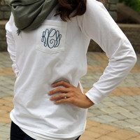 Monogram Long Sleeve Pocket Tee Shirt
