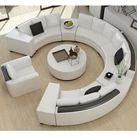 Modern Curved Top Grain Round Leather Sofa Set