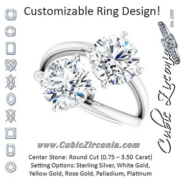 Cubic Zirconia Engagement Ring- The Melaine (Customizable Two Stone Double Round Cut Design with Split Bypass Band)