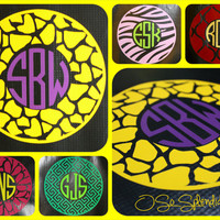 "35+ Colors To Choose from - 12"" Custom Circle Monogram Car Decal - Giraffe Pattern Outer Circle - Personalized Sticker"