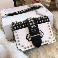 PRADA Fashionable Women Leather Metal Chain Chic Rivet Crossbody Satchel Shoulder Bag