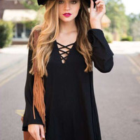 Casual Criss Cross Spaghetti Strap V-Neck Long Sleeve Mini Dress