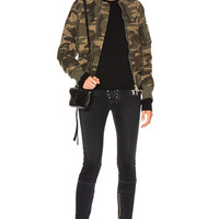 Unravel Reconstructed Bomber Jacket in Camo   FWRD