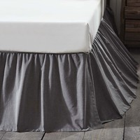 Charcoal Black Chambray Bed Skirt