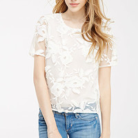 Floral-Embroidered Sheer Top