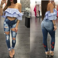 Slim Stretch Ripped Holes Floral Embroidery Skinny Pants [45272432665]