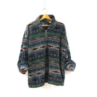 vintage fleece jacket. blanket coat. pullover sweater. size XXL