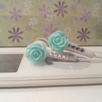 Sweet Lt Teal glitter rose white earbuds with swarovski crystals