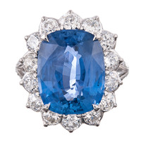 """Oval Faceted 10.5Ct """"No Heat"""" Sapphire & Diamond Cluster Ring"""
