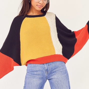 Ecote Mixed Stitch Colorblock Sweater | Urban Outfitters