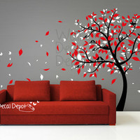 Vinyl Tree Wall Decal Wall Sticker Art Blowing by WallDecalDepot