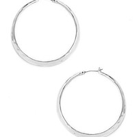 Kenneth Cole New York Silver Textured Hoop Earrings - Shiny Silver