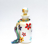 Apothecary Perfume Bottle Hand Painted Colorful Flower Bohemian Teen Room Decor FREE SHIPPING