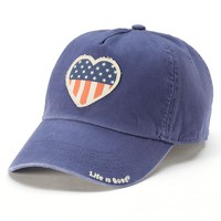 Life Is Good Women's American Flag Heart Baseball Hat, Size: One Size (Blue)