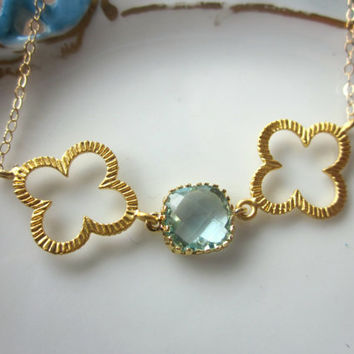 Quatrefoil Necklace Aquamarine Blue Necklace Gold Plated  - 14k Gold Filled Chain - Bridesmaid Jewelry - Wedding Jewelry - Christmas Gift