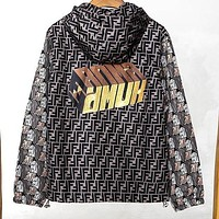 Fendi 2019 new double F letter printed cardigan hooded windbreaker jacket
