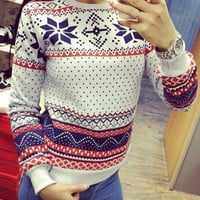 Snowflake Pattern Fleece Casual Sweatshirt