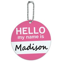 Madison Hello My Name Is Round ID Card Luggage Tag