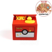 High Quality Electronic Money Box  Pikachu Piggy Bank Steal Coin Automatiy For Kids Friend Birthday Christmas GiftKawaii Pokemon go  AT_89_9