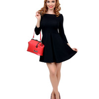 Black Three-Quarter Sleeve Skater Flare Dress