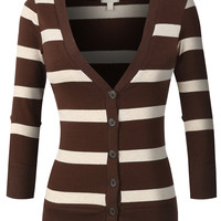 LE3NO Womens Lightweight  3/4 Sleeve Striped V Neck Cardigan (CLEARANCE)