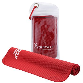 """SYOURSELF Cooling Towels Set for Instant Relief-Cool Bowling Fitness Yoga Towel Set- 40""""x12"""" Use as Neck Headband Bandana Scarf,Stay Cool for Travel Camping Golf Football&Outdoor Sports Red 40""""x12"""""""