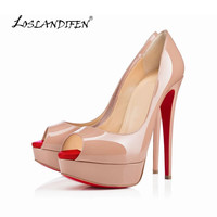 2015 spring and summer new Patent leather bow peep toe women sandals color block platform high heels shoes pumps 817-11RB