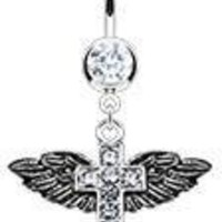 Body Accentz® Belly Button Ring Navel Cross Angel Wings Body Jewelry 14 Gauge Ho562