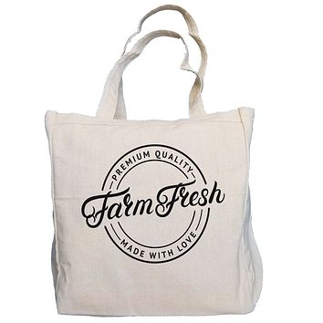 Ink Trendz® Farm Fresh Made With Love Farmers Market 10oz. Natural Canvas Cotton Tote