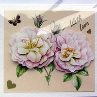 Rose Hand-Crafted 3D Decoupage Card - With Love (1591)