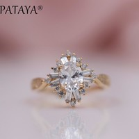 PATAYA New Arrivals 585 Rose Gold Oval Purple White Natural Zirconia Rhombus Rings Women Luxury Wedding Banquet Party Jewelry
