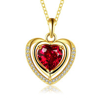 Gold Plated Ruby Heart Shaped Necklace