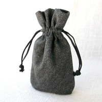 Drawstring gift bag Gray organic cotton jewelry pouch small 5 by 3 inches Cloth coin purse