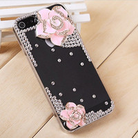 Pink flower iphone 5 cases,iphone cases-transparent bling camellia flower free shipping