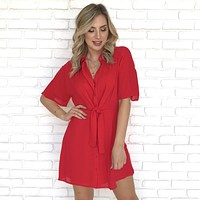 Pleasant Surprise Button Up Dress in Red
