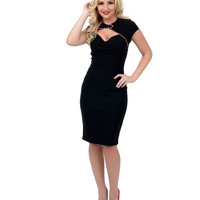 Black Candy Cane Lane Stretch Wiggle Dress