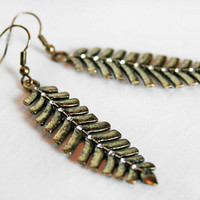 Rustic Gold Feather Earrings