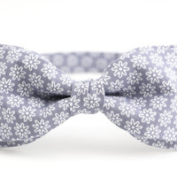 Gray Bow Tie by BartekDesign: pre tied ash gray flowers print wedding grooms proms