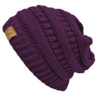 Purple Thick Slouchy Knit Oversized Beanie Cap Hat