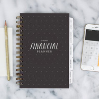 Financial Planner – 12-month Fill-in the Date Planner for saving, budgeting and planning ahead in Black Dot