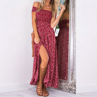 High Split Long Dress Vintage Women Sexy Off Shoulder Dresses Maxi Floral Prints Bohemian Beach Casual Belly Band Vestidos H1