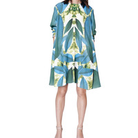 Leaf Print Long Sleeve Tent Dress