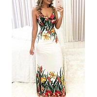 Women Sexy Boho Sleeveless Floral Casual Long Maxi Evening Party Beach Dress Summer Dresses V-Neck Printing Sundress